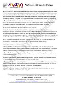 Règlement intérieur académique